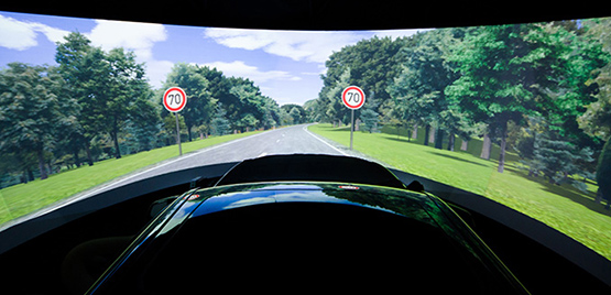 [Photo: Driving Simulator with Motion System]